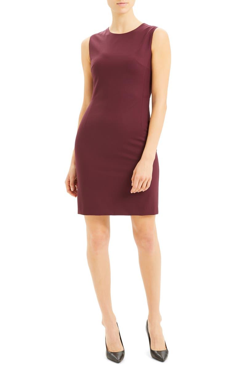 THEORY Sleeveless Stretch Wool Sheath Dress, Main, color, MULBERRY