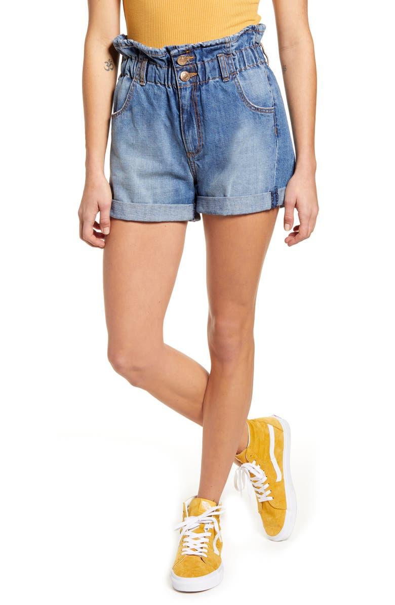 STS BLUE Hayley Paperbag Waist Denim Shorts, Main, color, BECKFORD