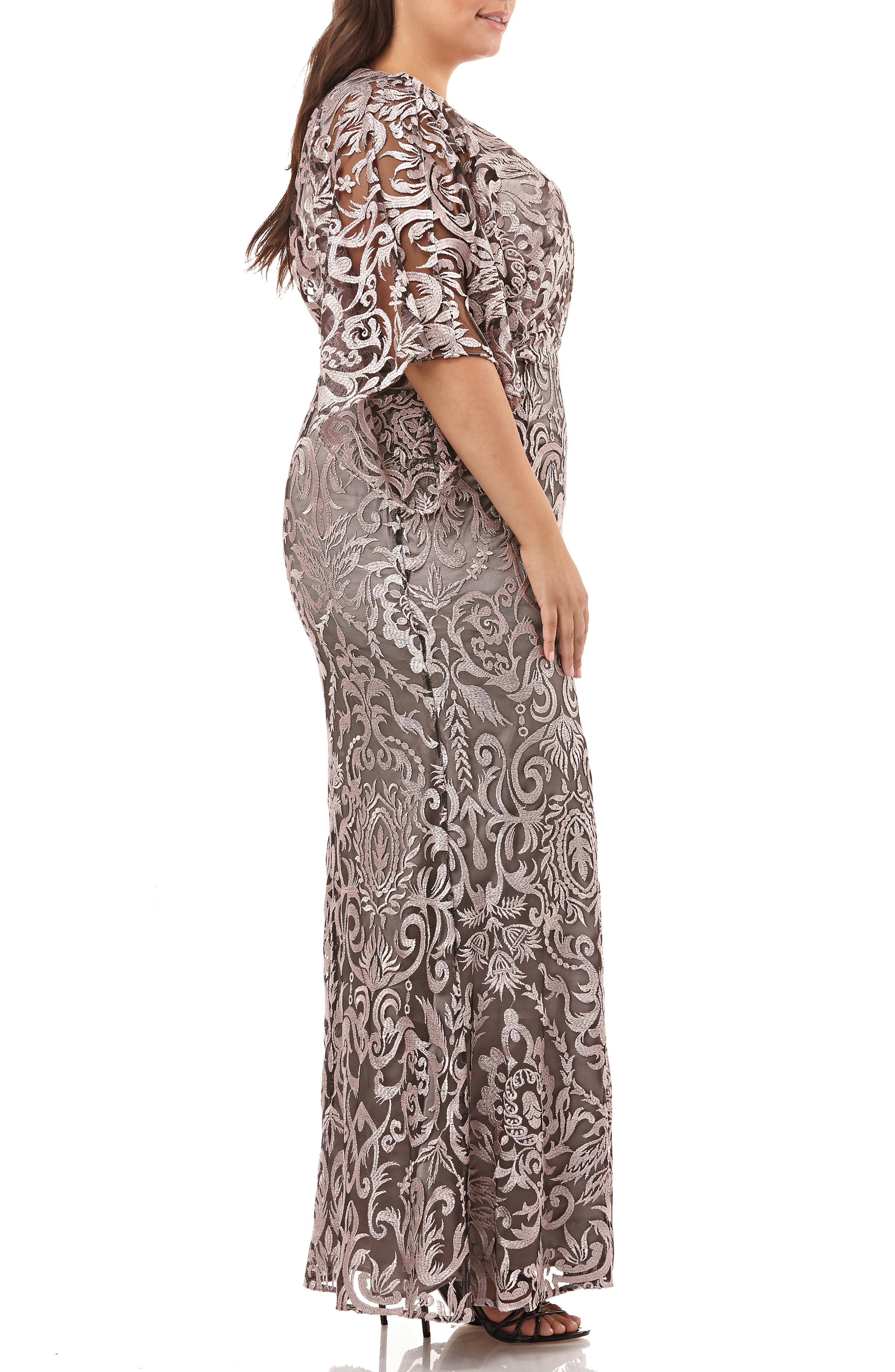 ,                             Embroidered Lace Evening Dress,                             Alternate thumbnail 4, color,                             SHELL PINK