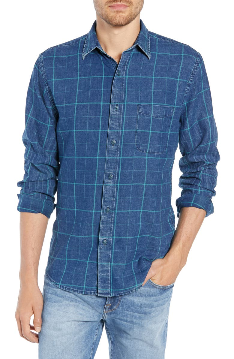 FAHERTY Ventura Windowpane Shirt, Main, color, BLUE