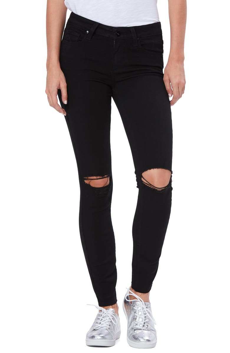 PAIGE Transcend Verdugo Ripped Ankle Skinny Jeans, Main, color, BLACK DOMINO DESTRUCTED