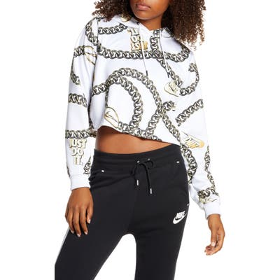 Nike Sportswear Icon Clash Chain Print Crop Hoodie