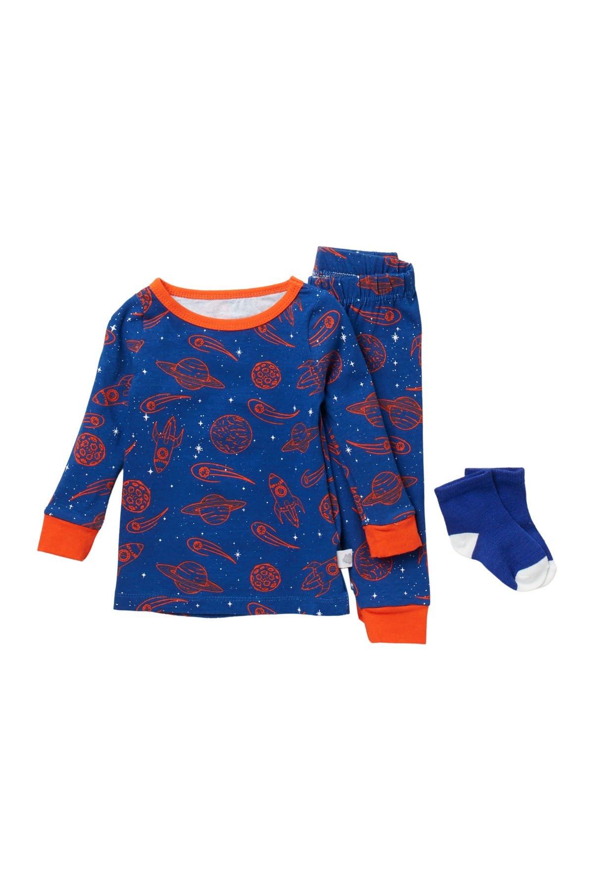 Image of CLOUD NINE 3-Piece Galaxy Pajama Set with Socks