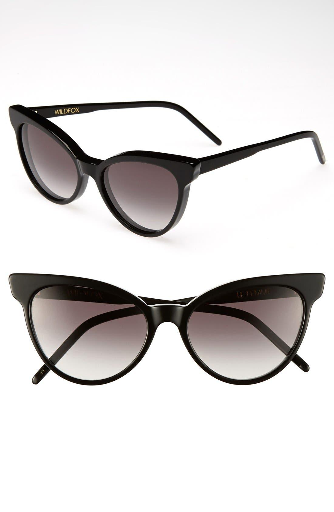'La Femme' 55mm Sunglasses, Main, color, 001