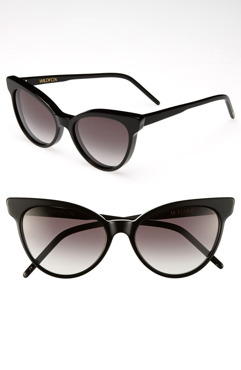 WILDFOX 'La Femme' 55mm Sunglasses, Main, color, 001