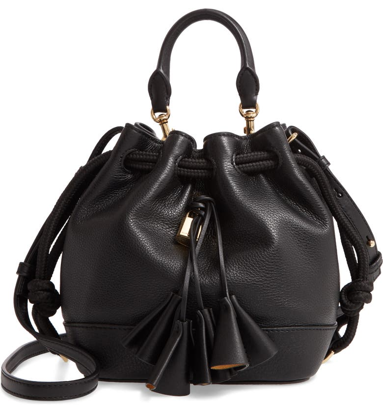 THE MARC JACOBS Sofia Loves the Leather Bucket Bag, Main, color, BLACK MULTI