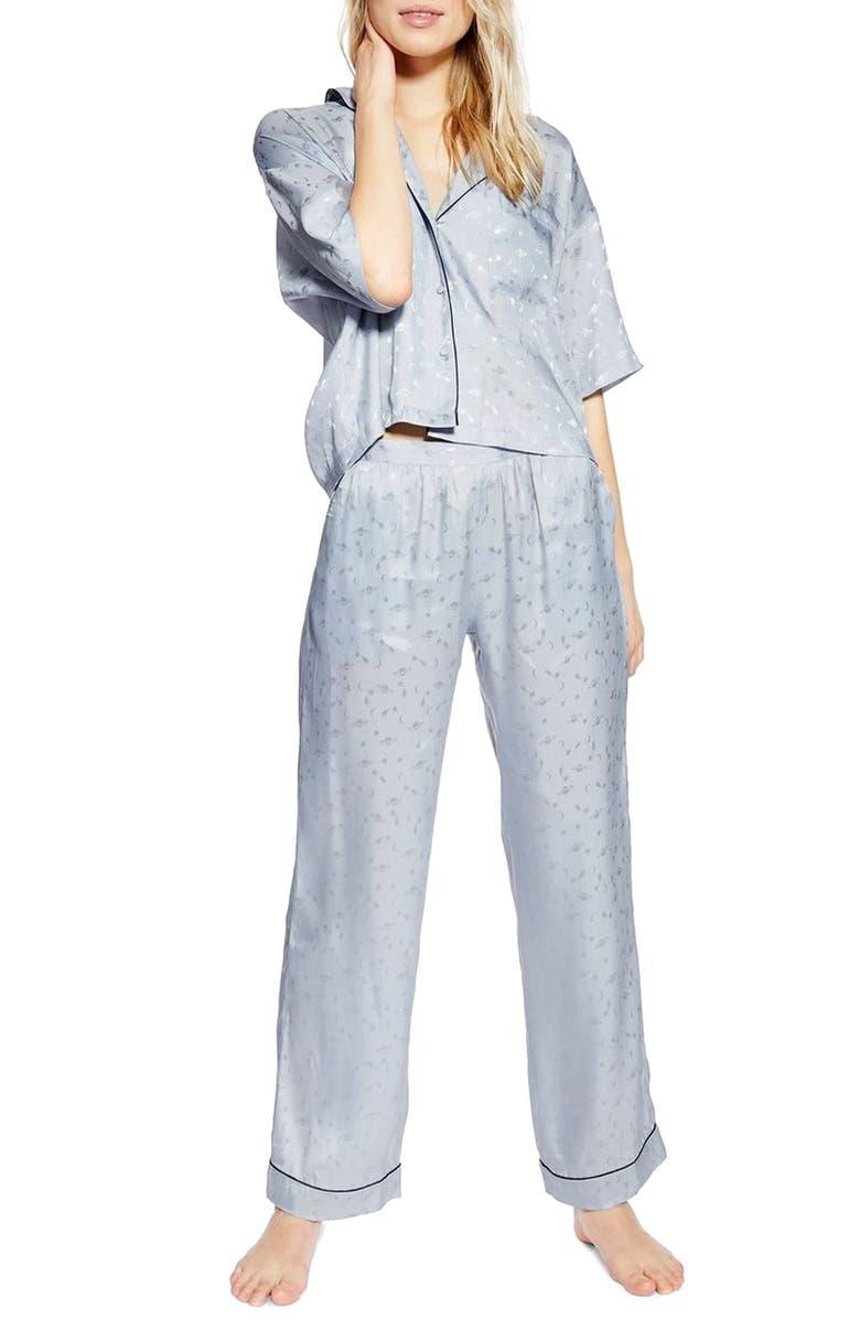 TOPSHOP Space Jacquard Pajama Pants, Main, color, BLUE