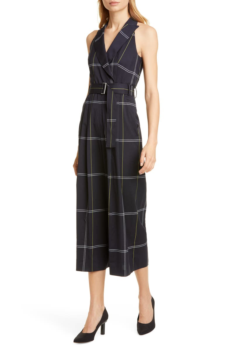 KAREN MILLEN Windowpane Check Jumpsuit, Main, color, BLACK AND WHITE