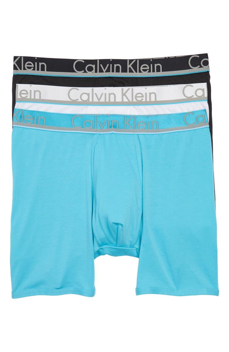 CALVIN KLEIN 3-Pack Comfort Microfiber Boxer Briefs, Main, color, 001