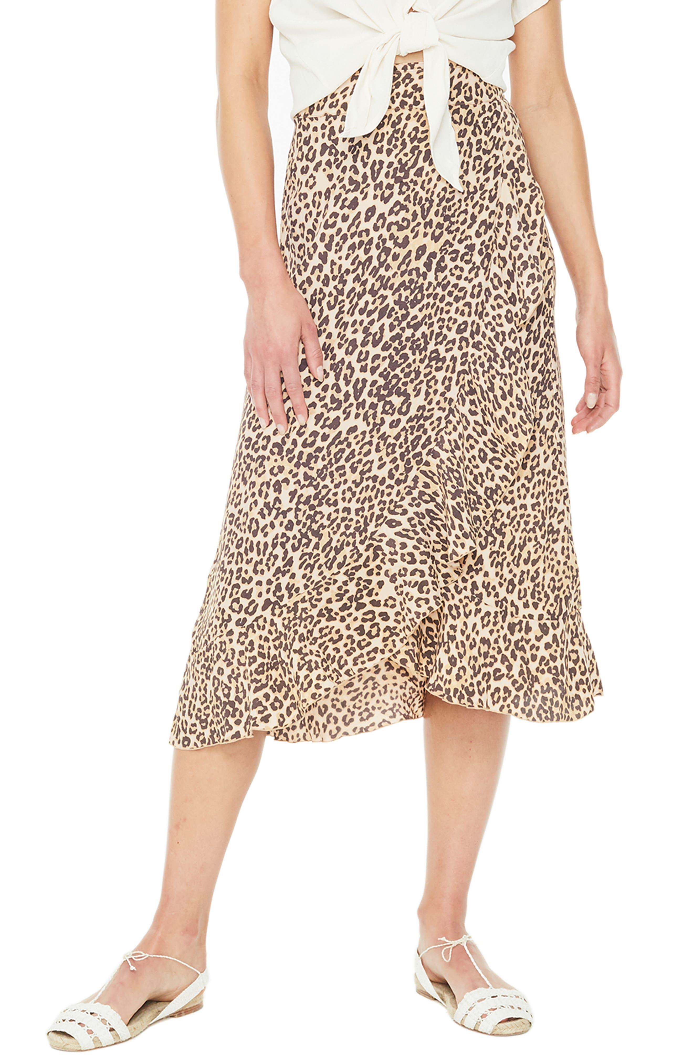 Celeste Leopard Print Wrap Skirt