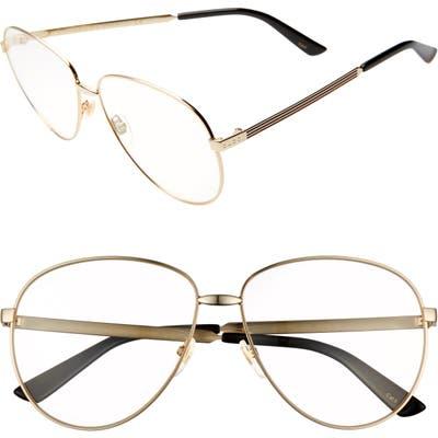Gucci 61Mm Round Sunglasses - Gold