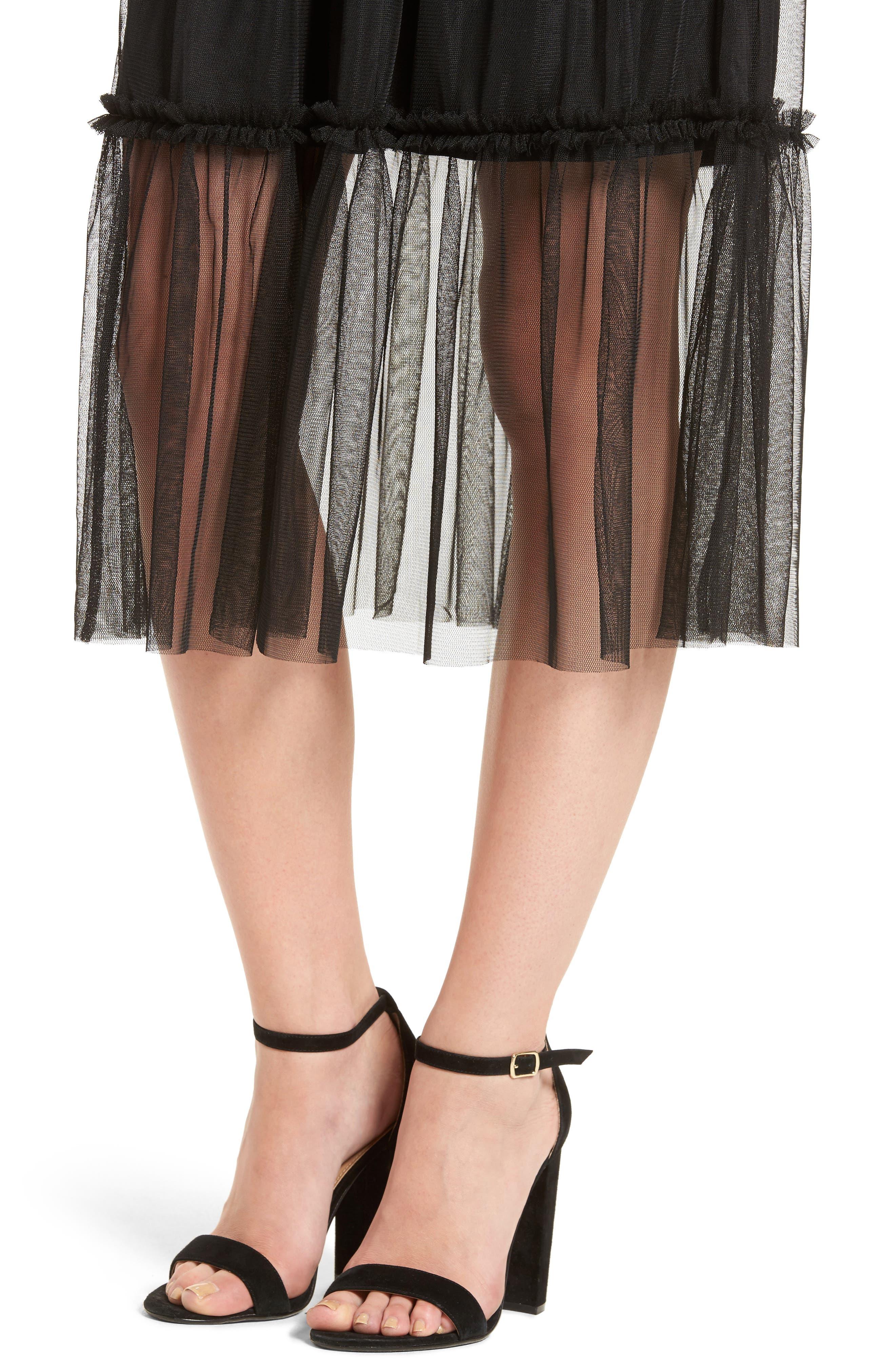 ,                             Tulle Midi Skirt,                             Alternate thumbnail 4, color,                             001