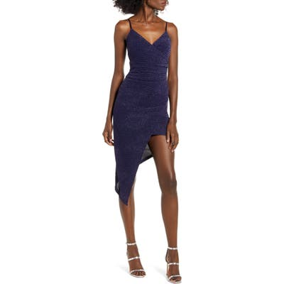 Love, Nickie Lew Asymmetrical Sparkle Body-Con Dress, Blue