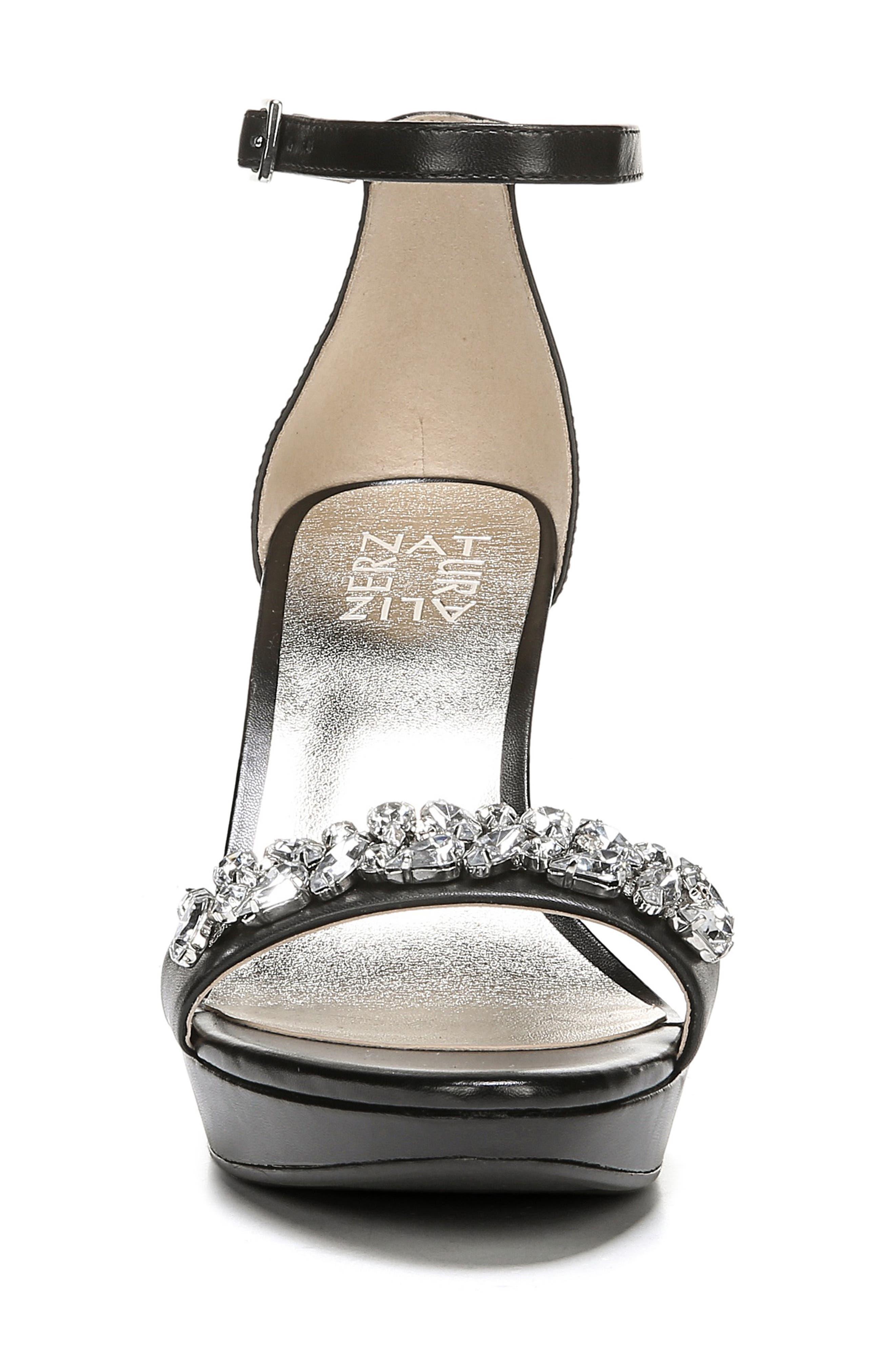 ,                             Cassano Crystal Embellished Sandal,                             Alternate thumbnail 4, color,                             BLACK LEATHER