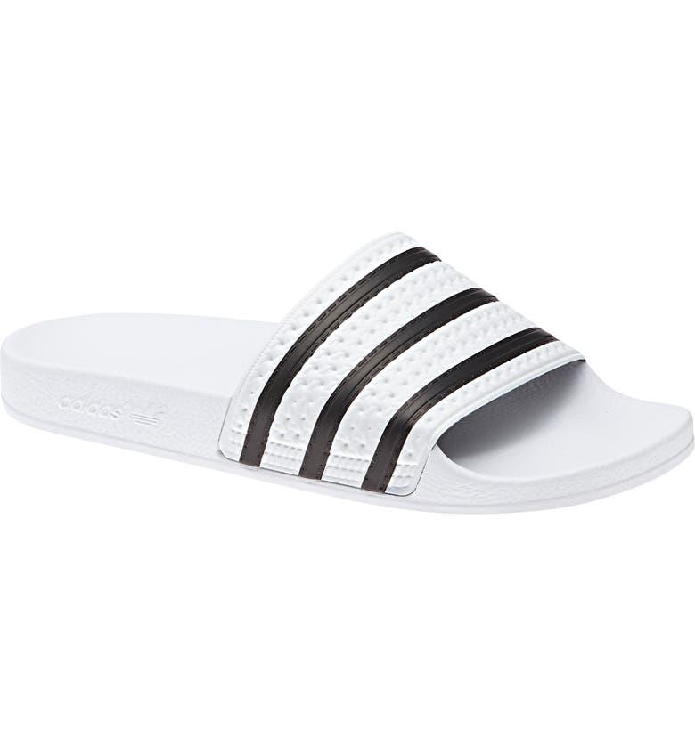ADIDAS Adilette Stripe Sport Slide, Main, color, WHITE/ BLACK/ WHITE