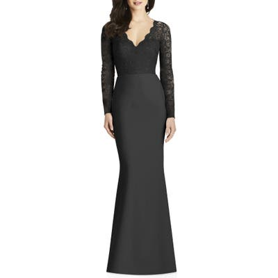 Dessy Collection Lace & Crepe Trumpet Gown, Black