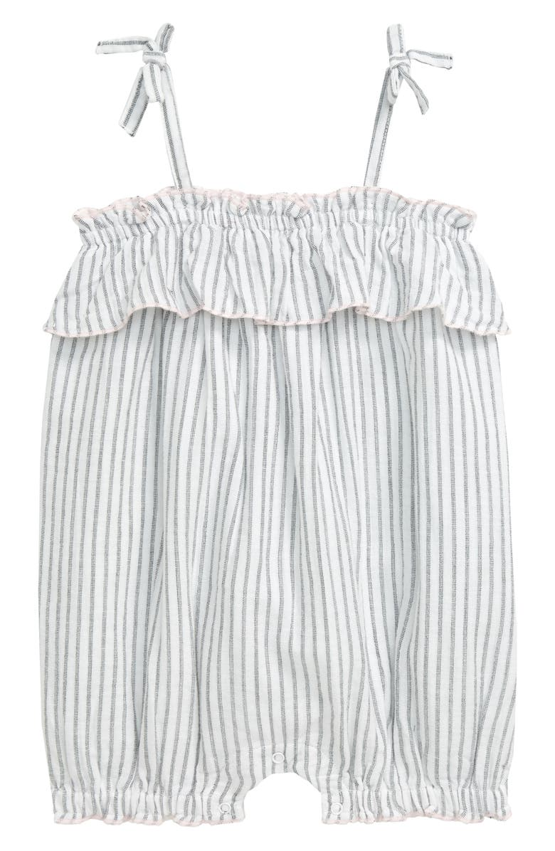 NORDSTROM BABY Stripe Flounce Romper, Main, color, WHITE- BLACK PLAY STRIPE