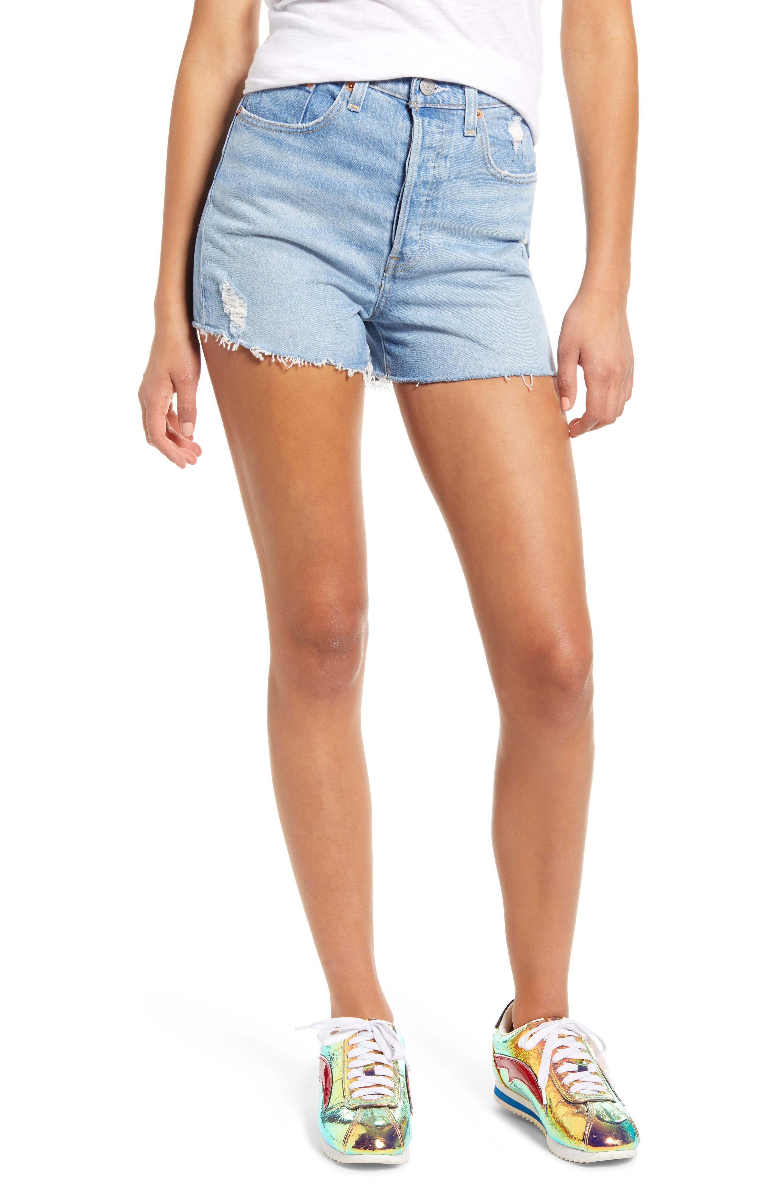 Levi's® Ribcage High Waist Distressed Raw Hem Denim Shorts (Tango Beach)
