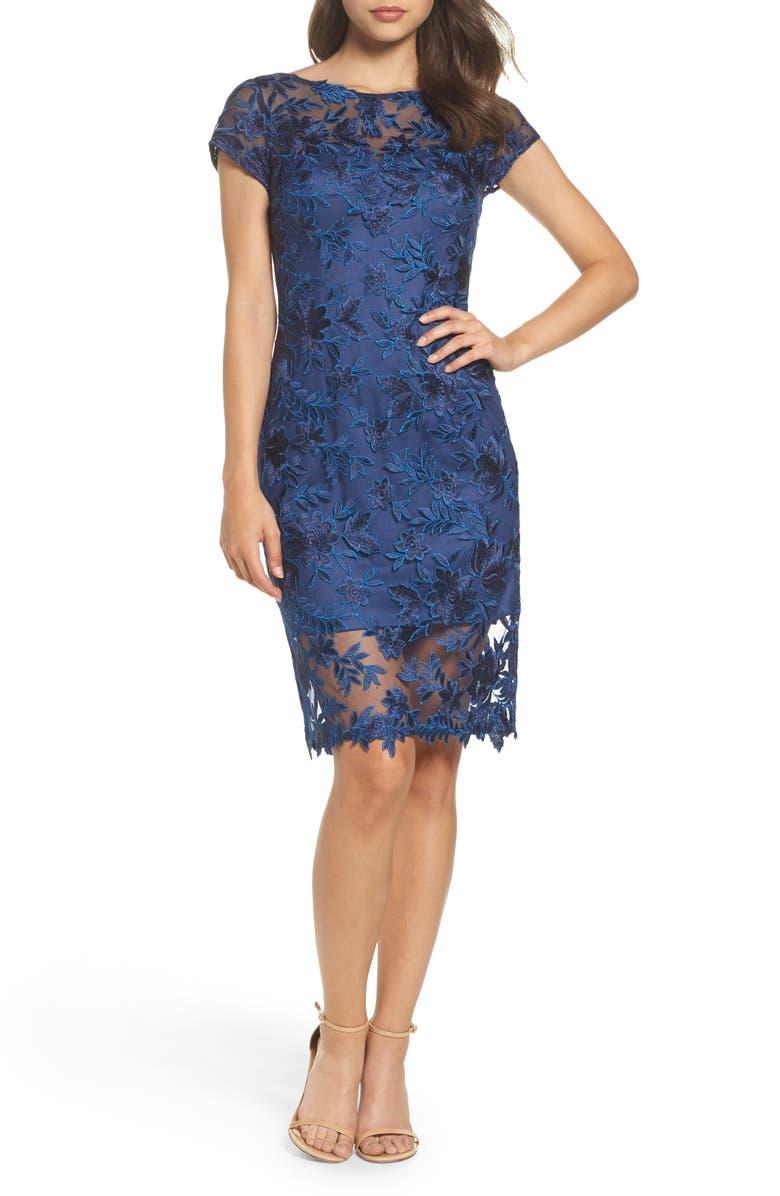 LA FEMME Illusion Detail Lace Sheath Dress, Main, color, NAVY