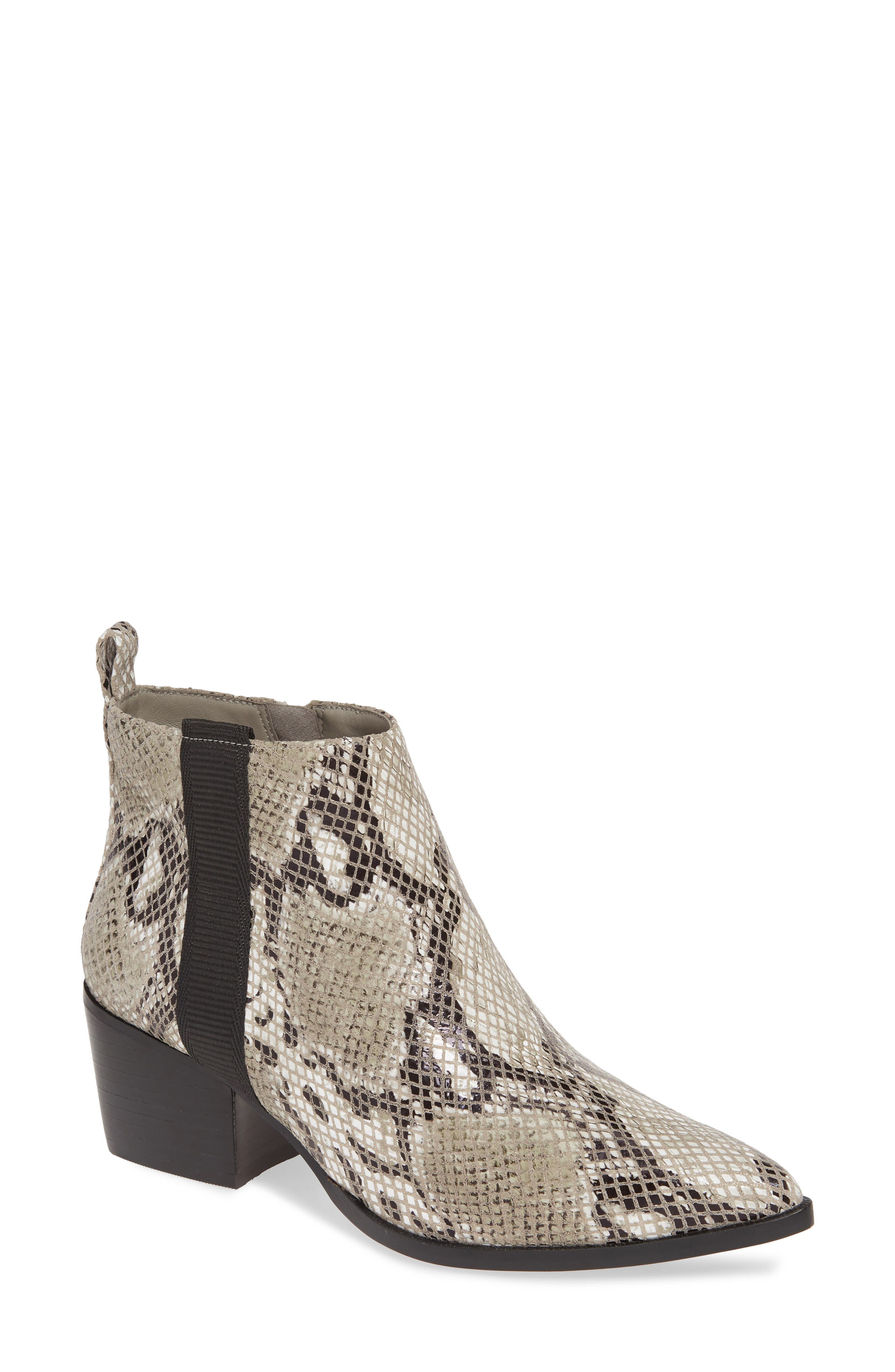 Trend-right snakeskin embossing and grosgrain-ribbon detailing bring scene-stealing appeal to a Western-inspired bootie in a pointy-toe silhouette. Style Name: Linea Paolo Sevilla Ii Bootie (Women). Style Number: 5824847. Available in stores.