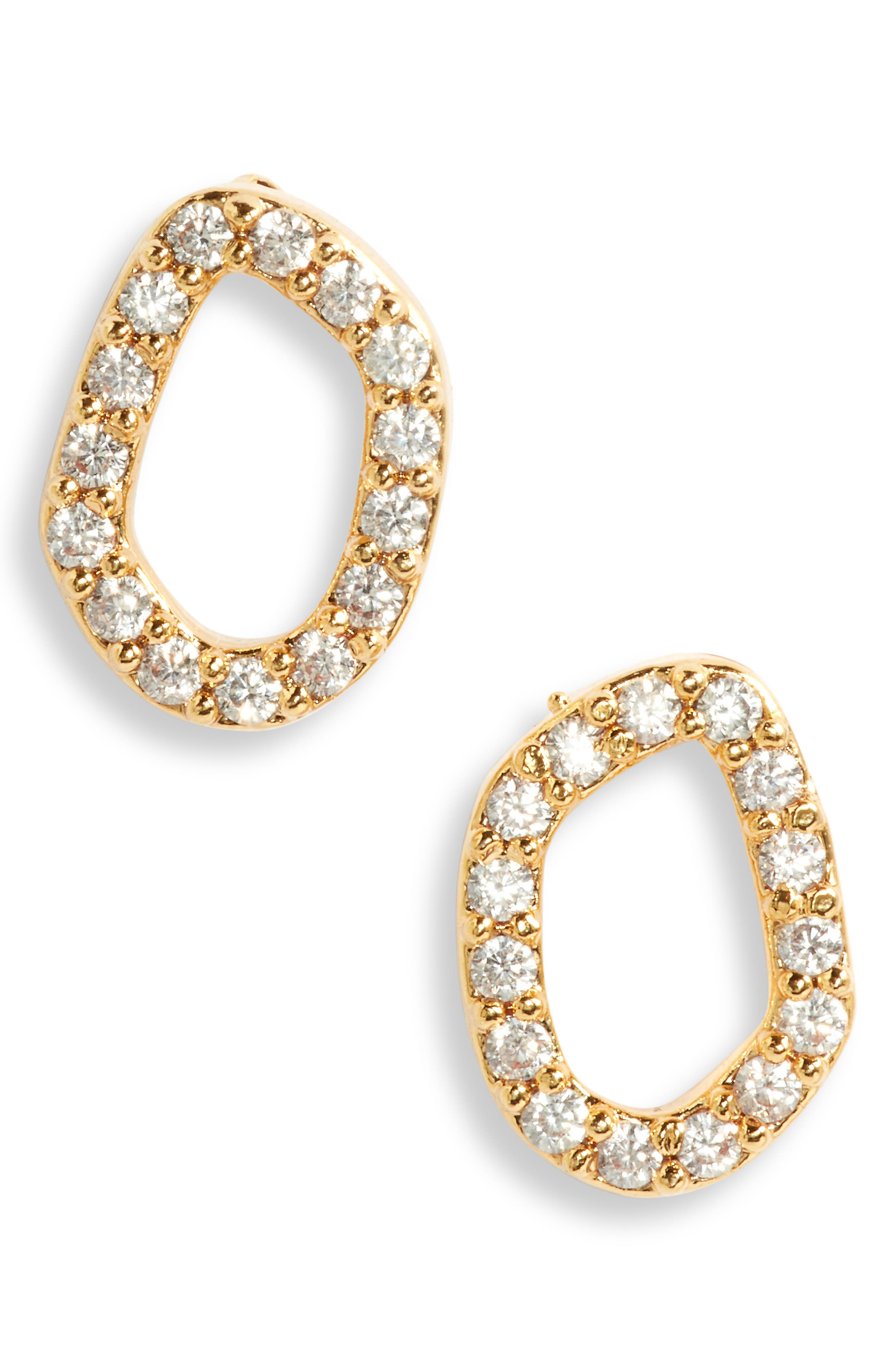 Pave Open Stud Earrings