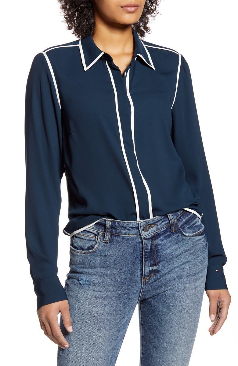 TOMMY HILFIGER Contrast Trim Woven Shirt, Main, color, 400