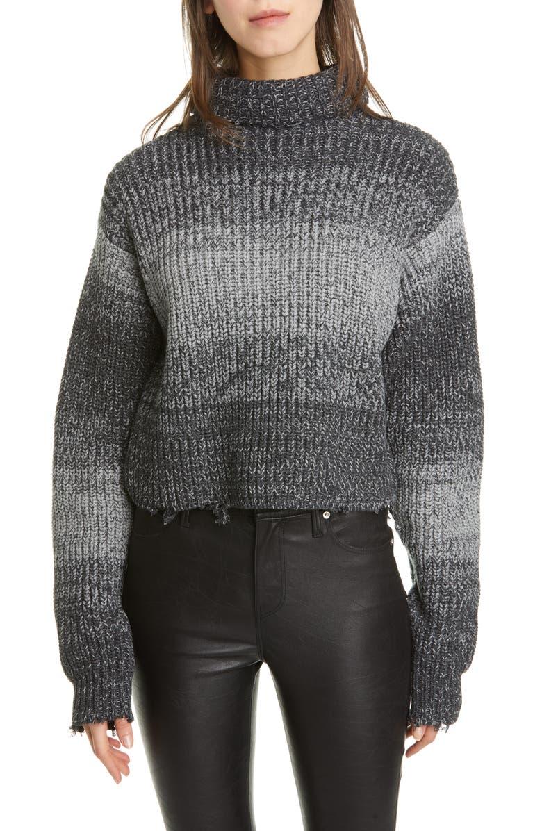 RTA Beau Stripe Distressed Cotton Turtleneck Sweater, Main, color, HEATHER VAPE