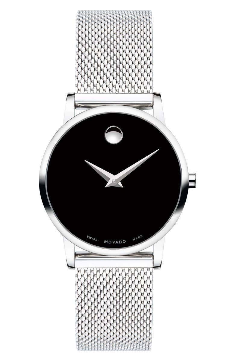 MOVADO Museum Mesh Strap Watch, 28mm, Main, color, SILVER/ BLACK/ SILVER