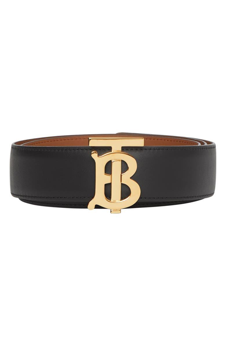 BURBERRY Logo Buckle Reversible Leather Belt, Main, color, BLACK/ MALT BROWN