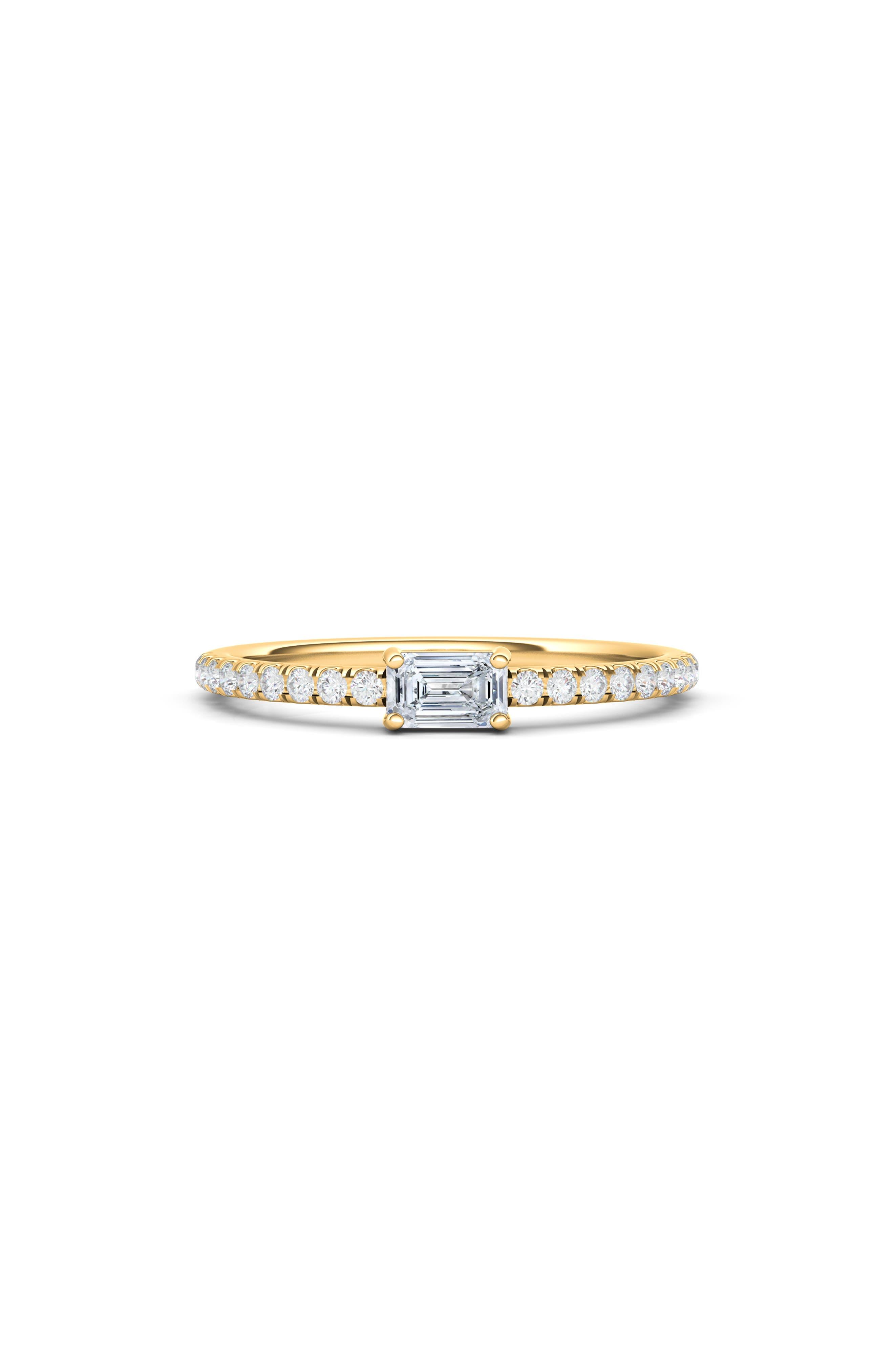Lab Created Diamond & Pave 14K Gold Ring