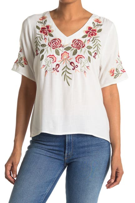 Image of Forgotten Grace V-Neck Embroidered Top