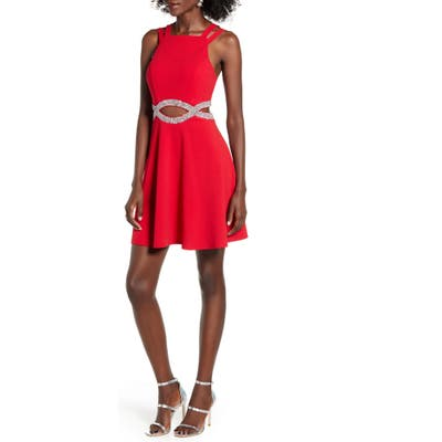 Speechless Rhinestone Waist Cutout Fit & Flare Dress, Red