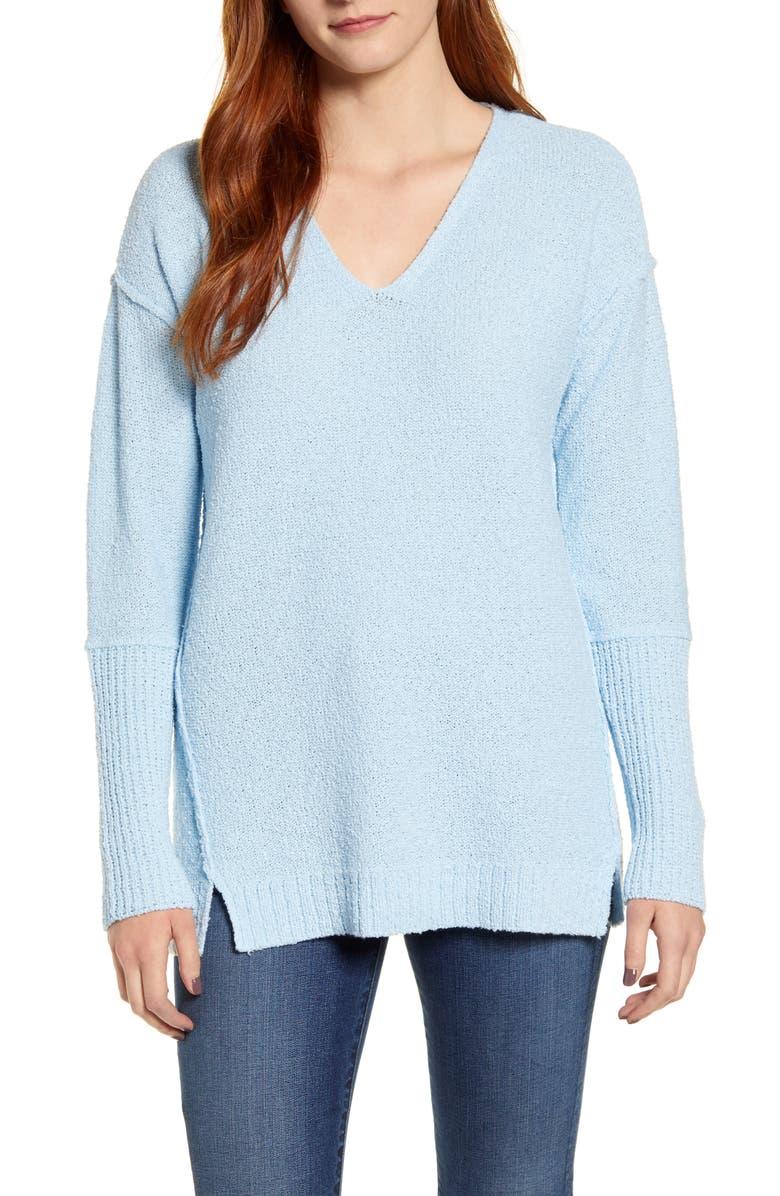 CASLON<SUP>®</SUP> Bouclé Tunic Sweater, Main, color, BLUE FALLS