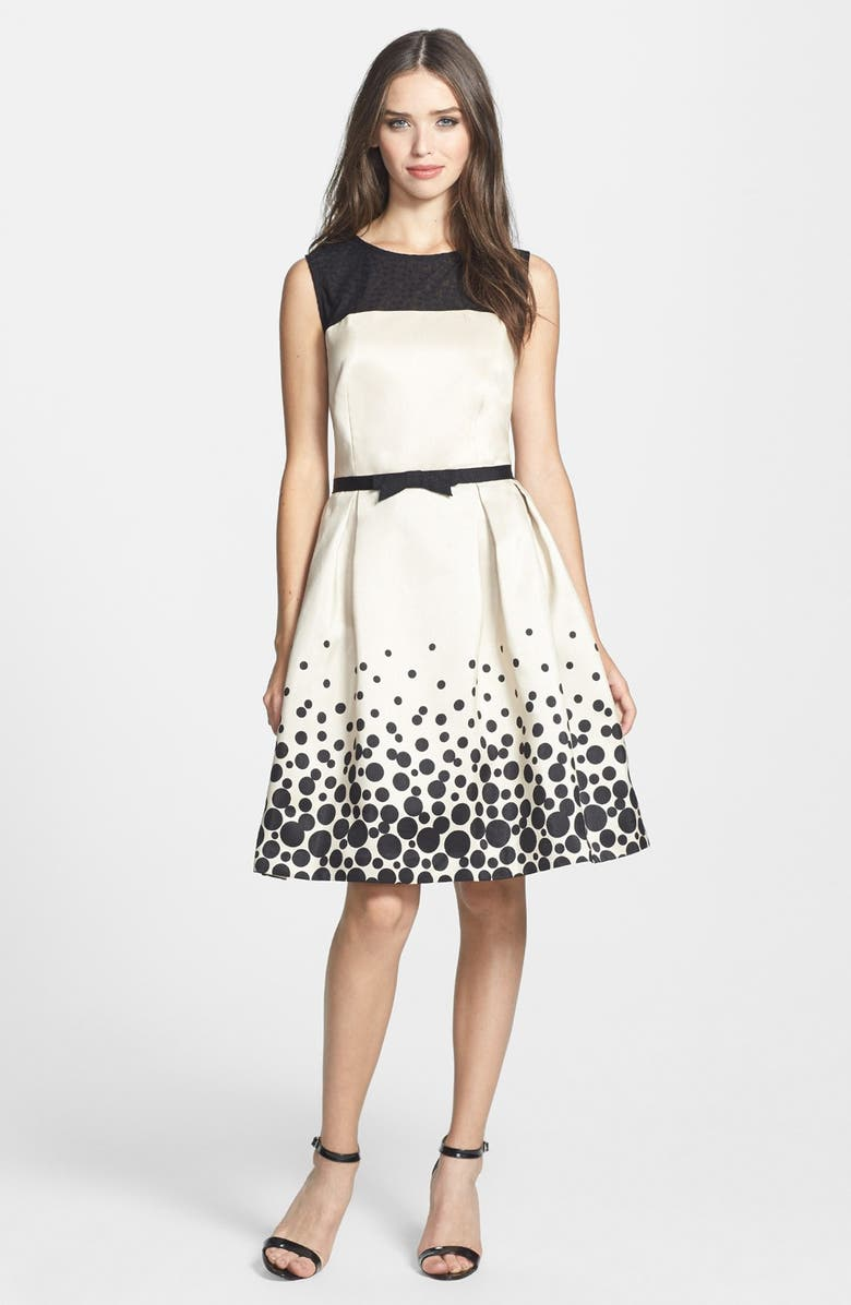 TAYLOR DRESSES Illusion Yoke Shantung Fit & Flare Dress, Main, color, 001