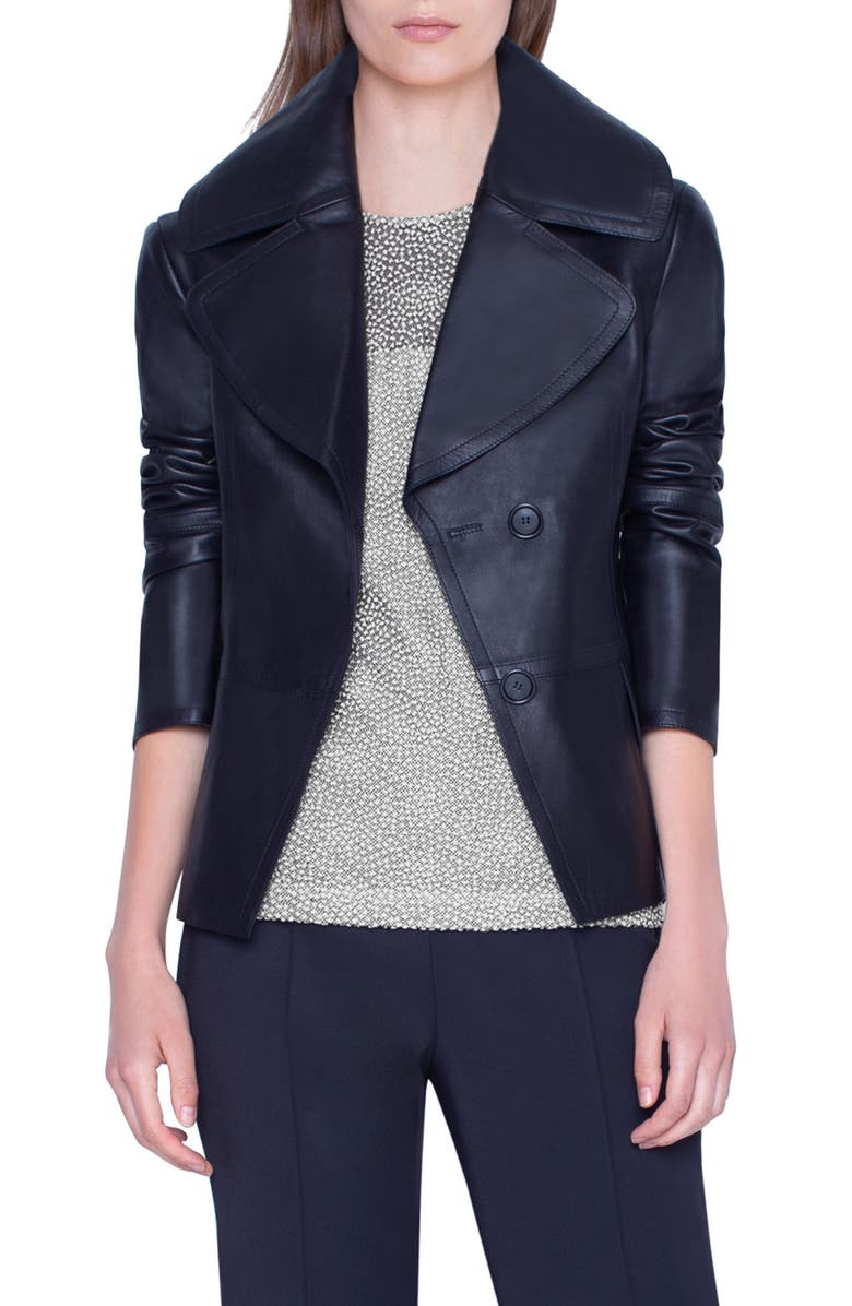 AKRIS Exaggerated Lapels Leather Jacket, Main, color, BLACK
