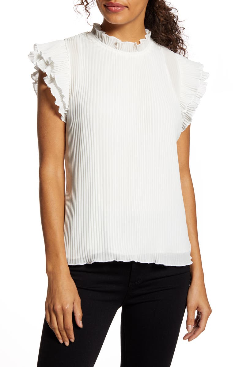 GIBSON x Glam Steph Taylor Jackson Pleated Ruffle Sleeve Blouse, Main, color, WINTER WHITE
