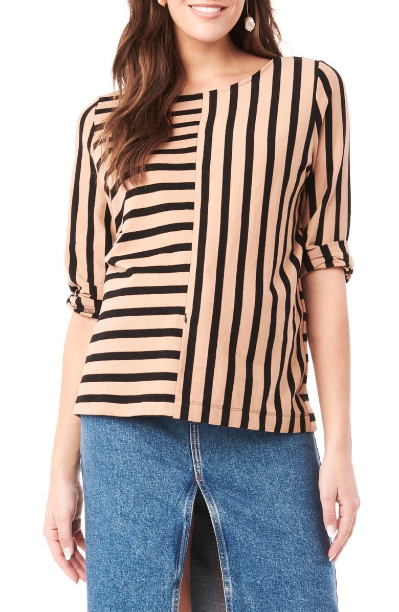 LOYAL HANA Tory Stripe Maternity Shirt, Main, color, TAUPE AND BLACK