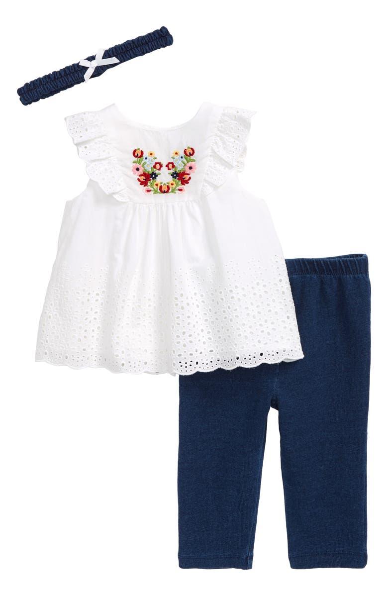 LITTLE ME Bouquet Eyelet Top, Leggings & Headband Set, Main, color, WHITE