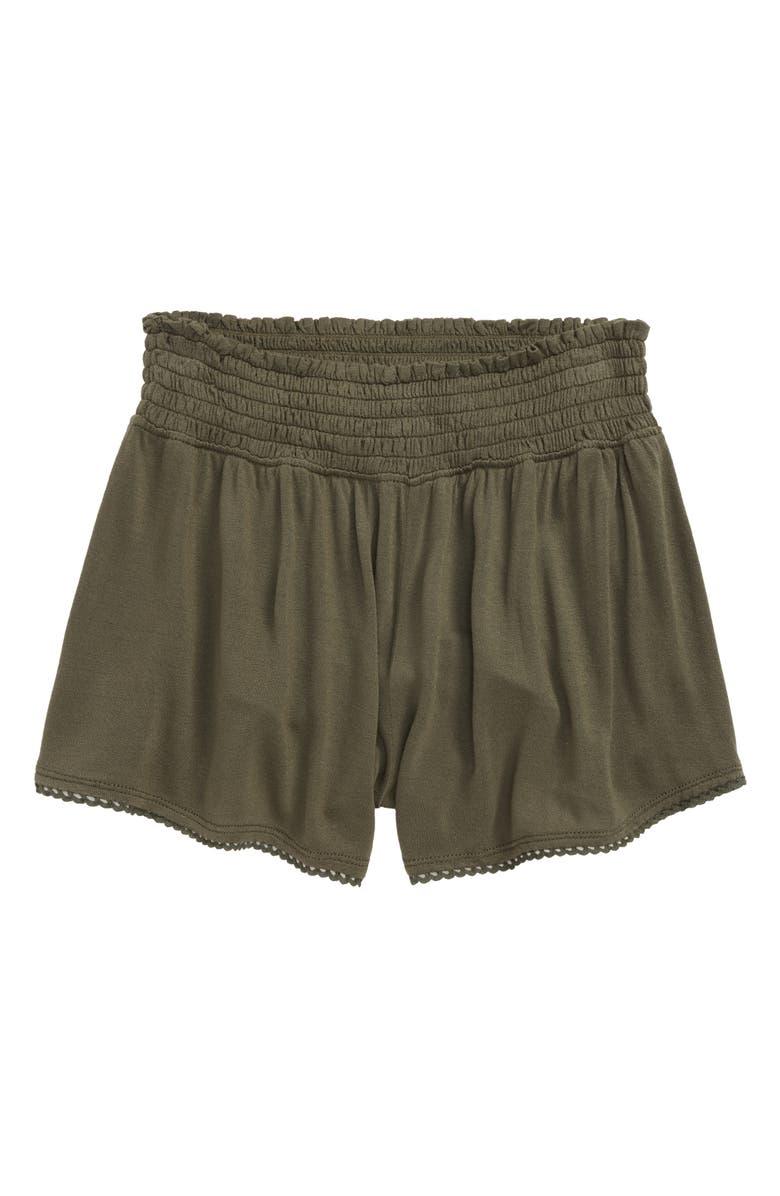 TUCKER + TATE Paperbag Waist Shorts, Main, color, OLIVE SARMA