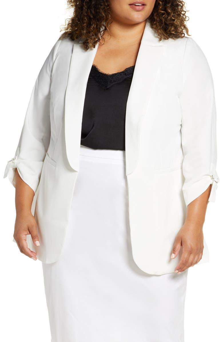 ELOQUII Alabama Blazer, Main, color, WHITE