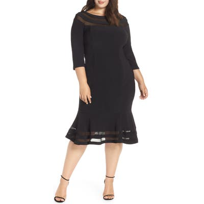Plus Size Xscape Flounce Midi Dress, Black