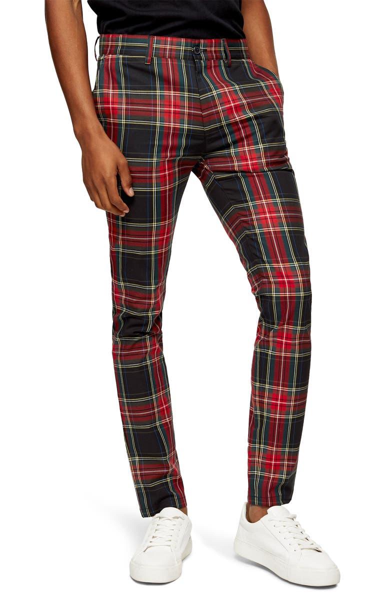 TOPMAN Tartan Stretch Skinny Fit Pants, Main, color, 600