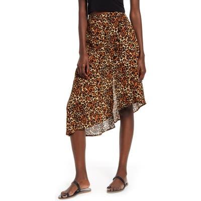 Band Of Gypsies Bronzite Asymmetrical Leopard Print Skirt, Brown