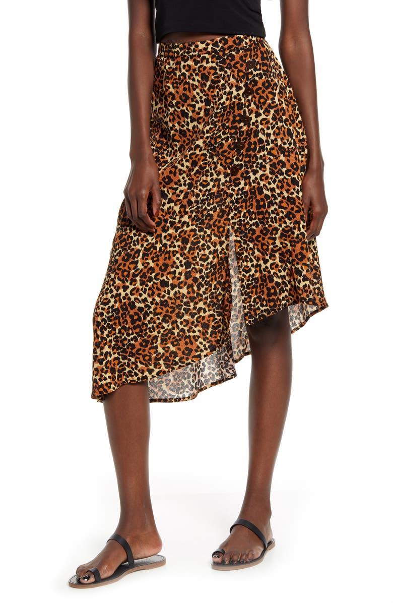 BAND OF GYPSIES Bronzite Asymmetrical Leopard Print Skirt, Main, color, 200