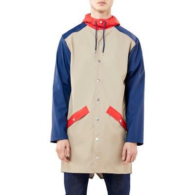 Rains Waterproof Colorblock Long Jacket, Beige