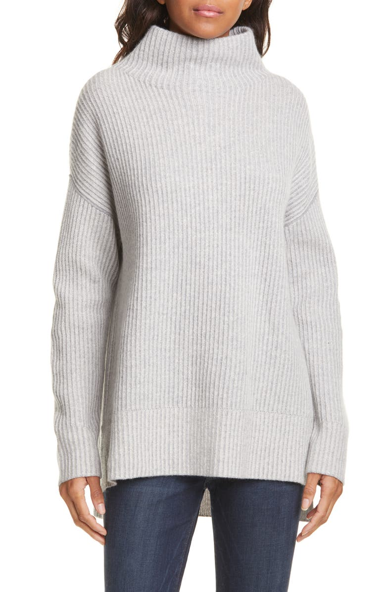 NORDSTROM SIGNATURE Rib High/Low Cashmere Sweater, Main, color, GREY FILIGREE HEATHER