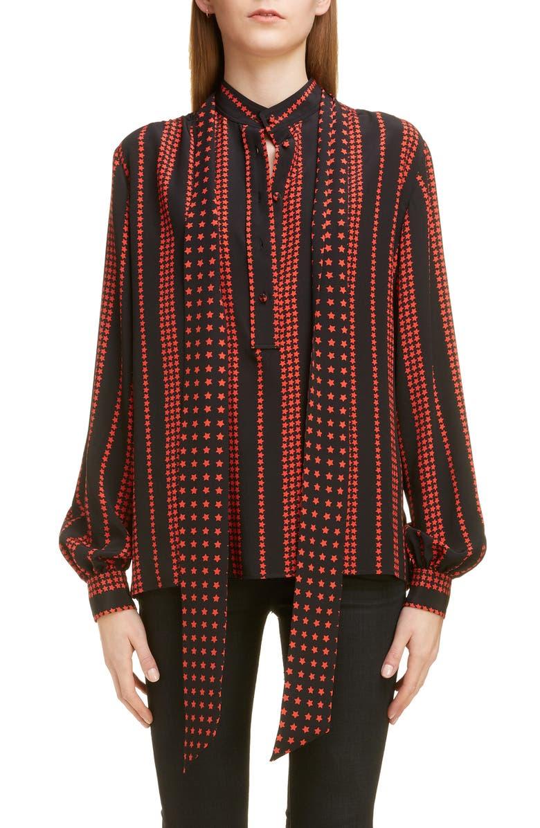 SAINT LAURENT Stripe Star Print Blouse, Main, color, NOIR ROUGE