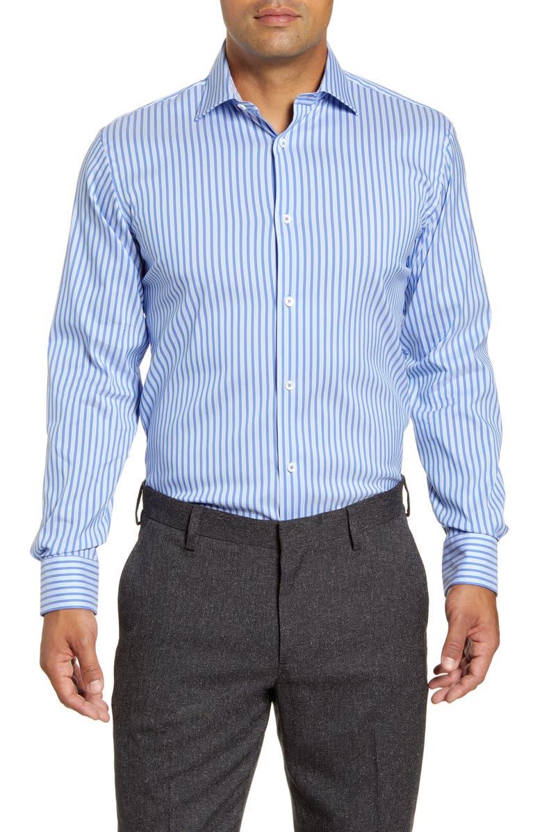 BUGATCHI Trim Fit Stripe Dress Shirt, Main, color, 422
