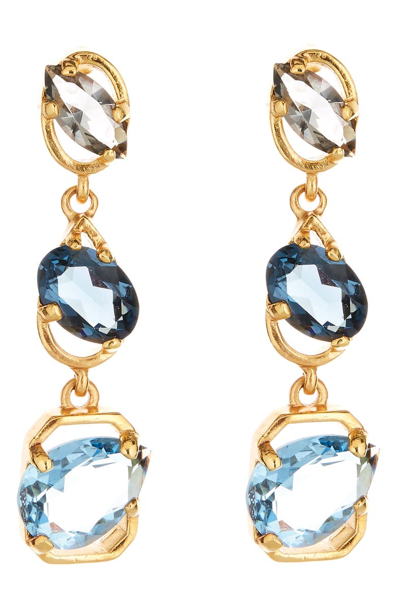 OSCAR DE LA RENTA Offset Crystal Linear Drop Earrings, Main, color, NAVY MULTI