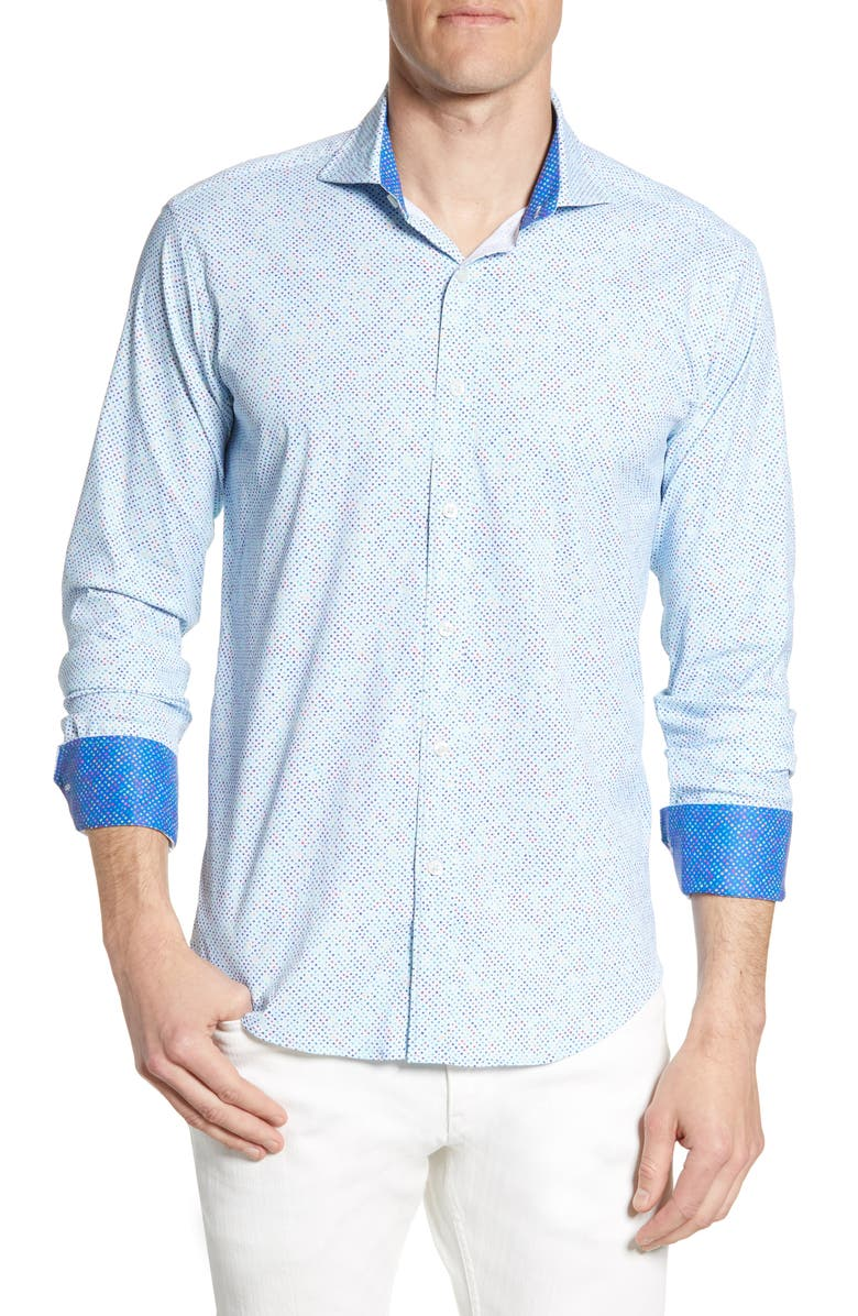 BUGATCHI Shaped Fit Dot Print Performance Shirt, Main, color, SKY